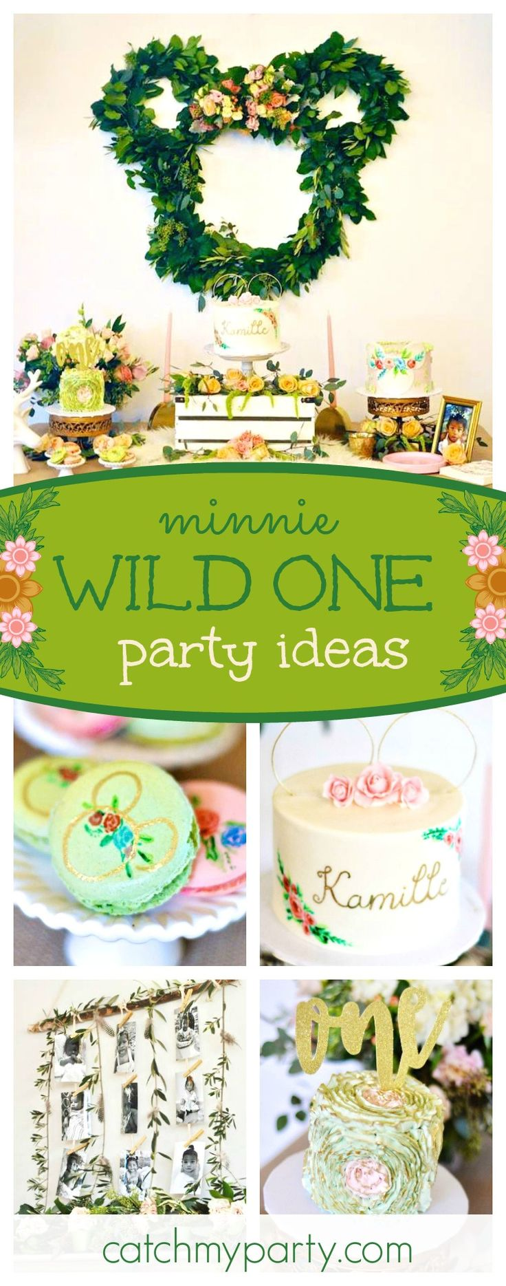 Be blown away by this amazing Boho Minnie birthday party. The Minnie wreath backdrop is so beautiful!! See more party ideas and share yours at CatchMyParty.com