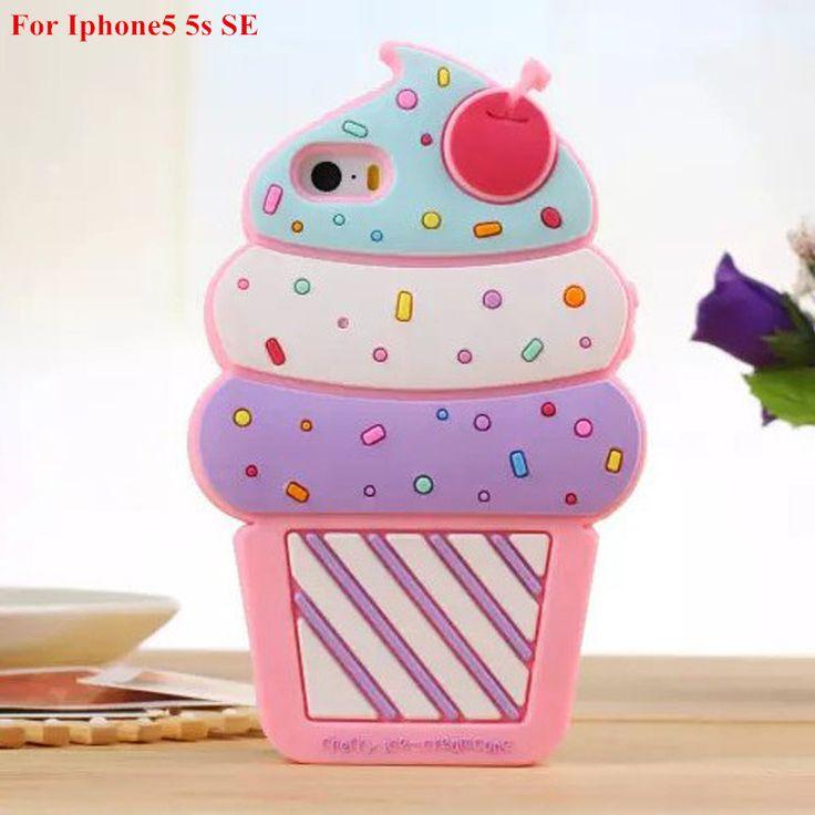 2016 рождество хэллоуин подарок 3D милая вишня мороженое мягкий силиконовый чехол для iphone 5 5sse / 5c / 6 6 s 4.7 дюймов бесплатная доставка