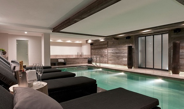 Pool in basement of chalet