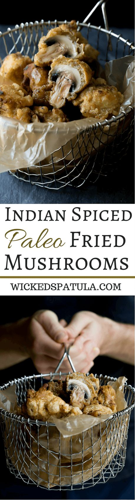 Paleo Fried Mushrooms spiced with Indian spices for a flavorful appetizer! | wickedspatula.com