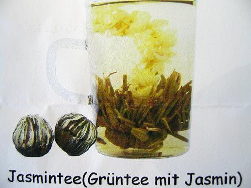Grüntee Kugel, Teeblume, mit Jasminblüte