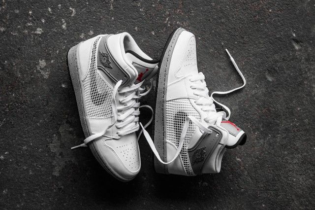 #AirJordan 1 Retro '89 White/Black-Cement Grey-Fire Red