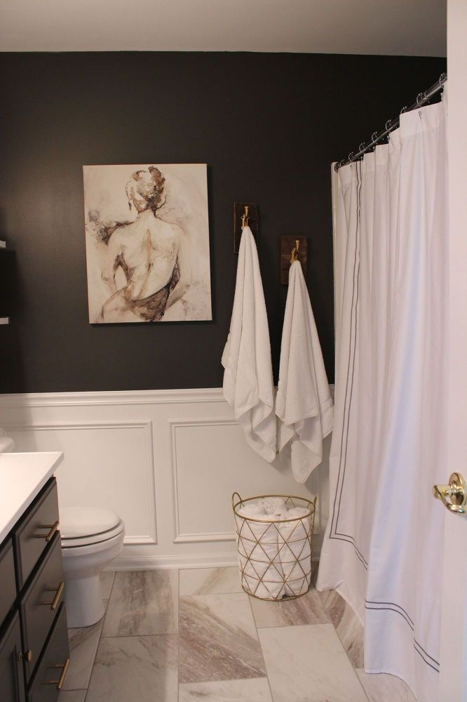 DIY wainscot n flooring - Sexy Hotel Like Master Bathroom