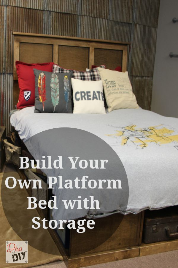 Learn how to make your own platform bed with storage. Free cut list, supply list, tool list, step by step instructions and a video tutorial