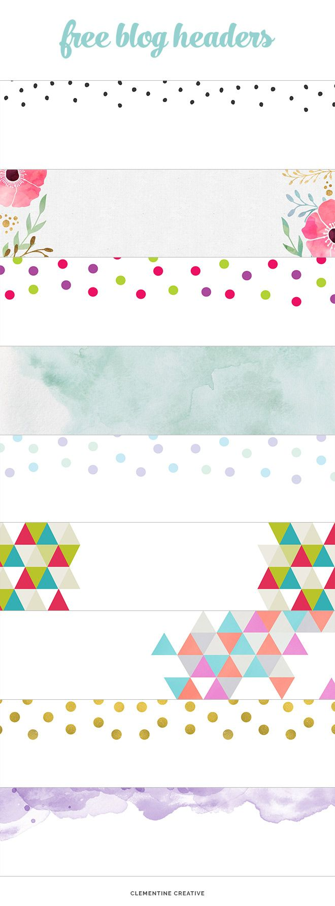 free creative blog headers - from watercolour to gold dots