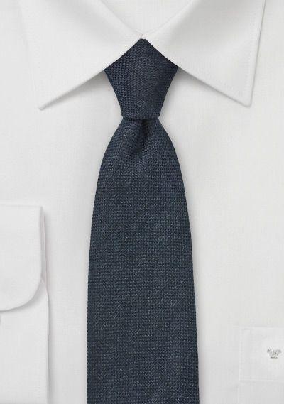 Worsted Wool Skinny Tie in Midnight Blue - $15