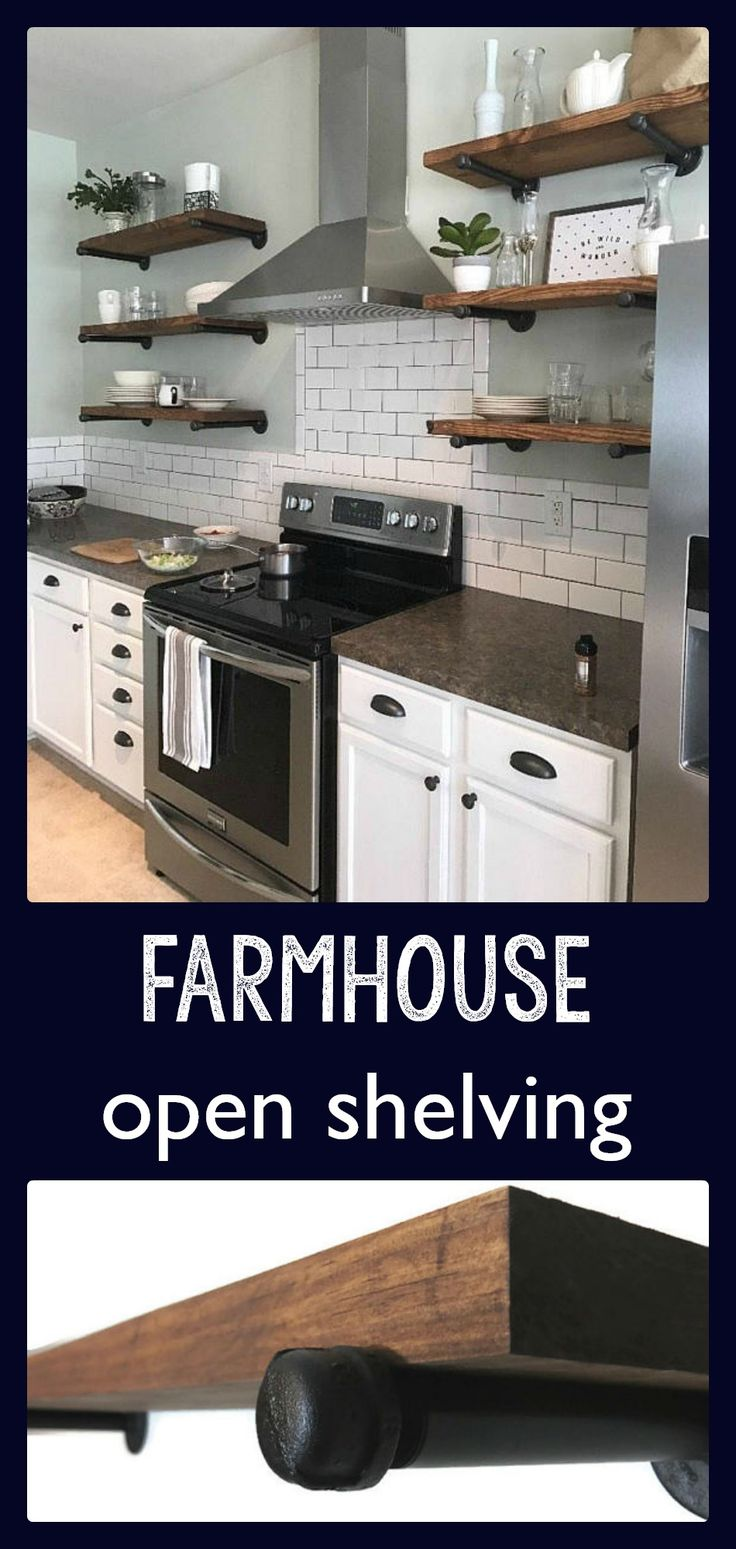 Open shelving is such a popular kitchen design right now.  I love the look of this kitchen. Open Kitchen Shelves, Industrial Pipe Shelving, Farmhouse Open Shelving, Laundry Room Shelves, Bathroom Storage Shelves #ad