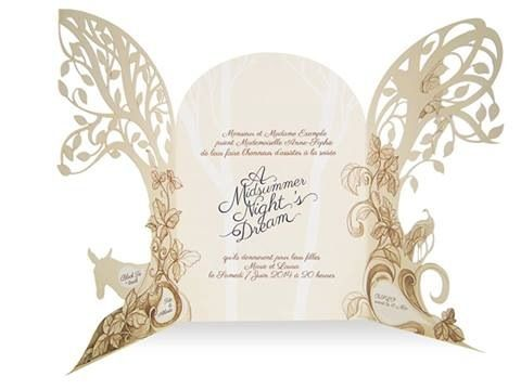 Midsummers Night Dream Invitation Design Open Illustration Lasercut