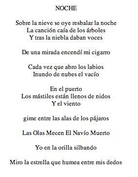 Vicente Huidobro (Creacionismo). Poema: Noche