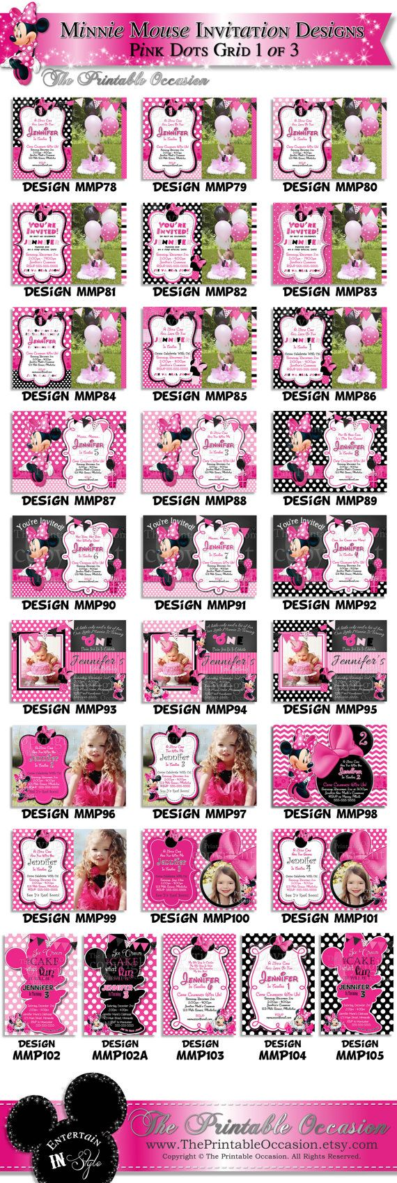 HUGE SELECTION Minnie Mouse Invitation by ThePrintableOccasion