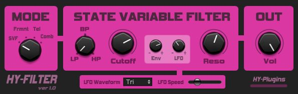 HY-Filter free filter effect VST plug-in for Windows (32 and 64 bit). http://www.vstplanet.com/News/2016/hy-plugins-releases-hy-filter-free-vst-filter-for-windows.htm