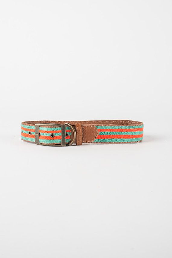 Mint and Orange Striped - Leather Embroidered Dog Collar by FILLYDOG
