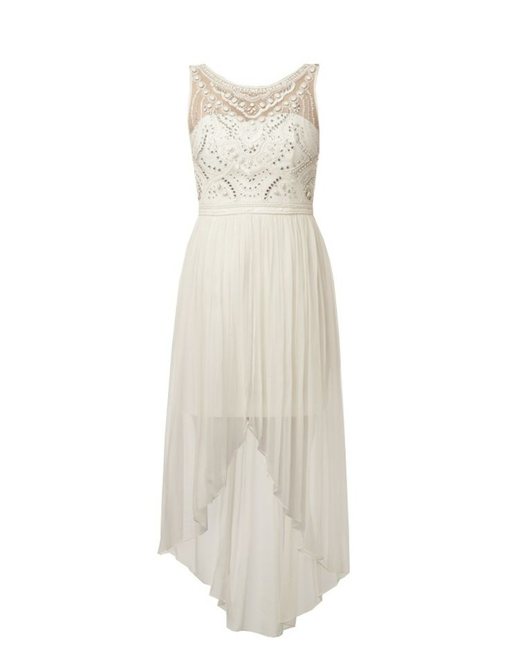 FOREVER NEW | Lizzie Embellished High-Low Dress in Cream - - Style36