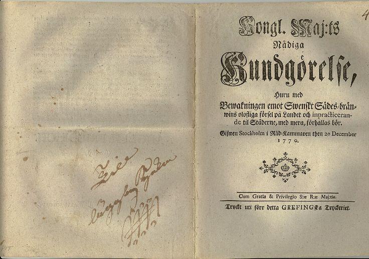Kundgörelse huru med Bewakningen emot Swenskt Sädes-bränwins olofliga försel på landet ... 20 December 1770 Adolf Fredrik Baksida med kronoslinga (föregångare till stämpel)