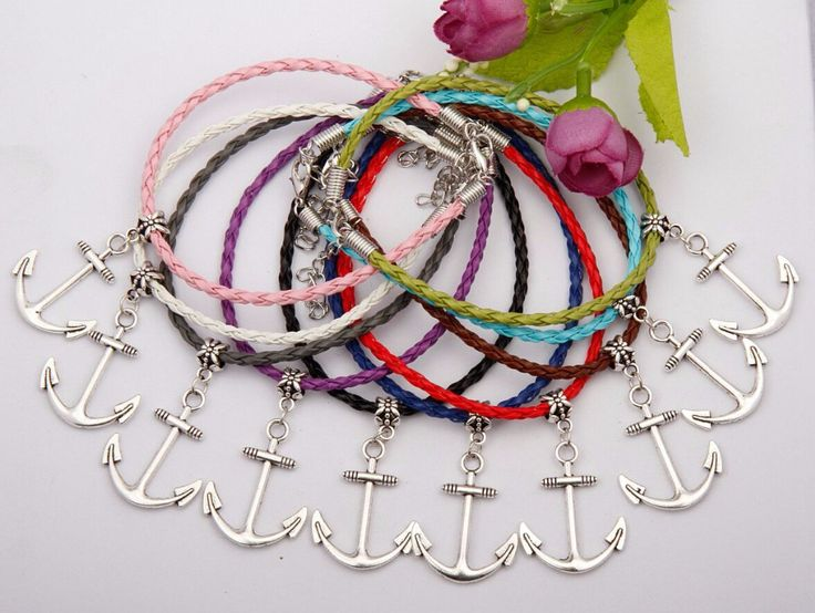 New Fashion Jewelry Vintage Silver Anchor Bolt Charm Multicolor Braided Rope Protection Bracelets Bracelet Women Gift 50pcs E227