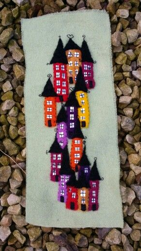 Needle felted houses by sandysosew