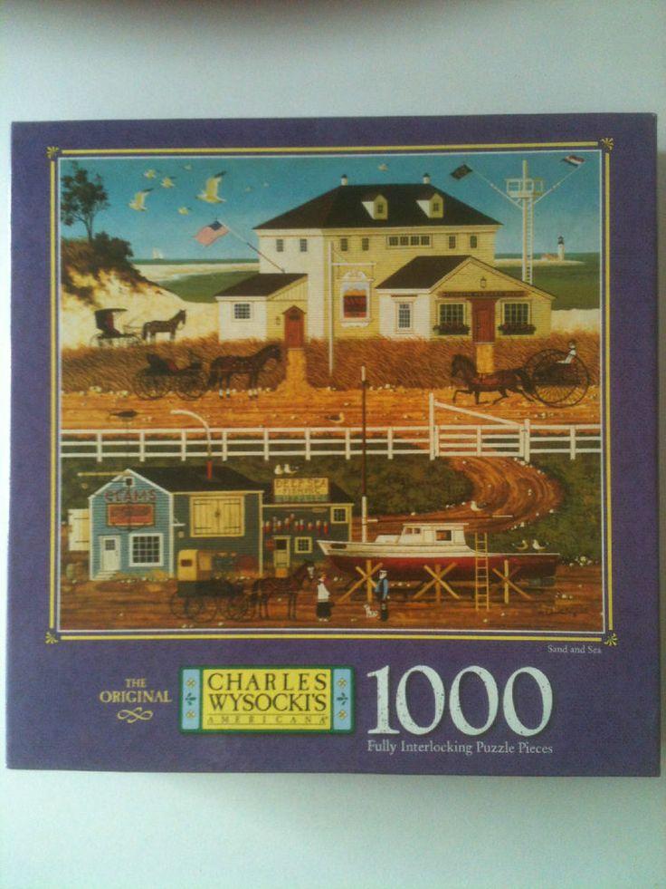 "Charles Wysocki Americana ""Sand and Sea"" 1000 Piece Jigsaw Puzzle 2000 Complete #MiltonBradley"