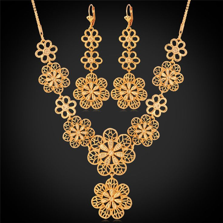 Cheap Jewelry Sets, Buy Directly from China Suppliers:                      Gold Necklace Earrings For Women New 18K Real Gold Plated Blossom Flowers Bohemia Cute Fashi