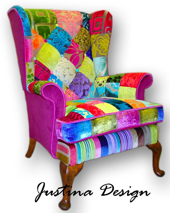 patchwork wing back armchair in designers guild velvets and plain sidesu2026