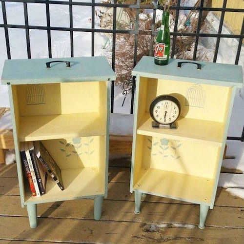 Take 2 old drawers, add pant and legs, and turn them into pretty side tables!