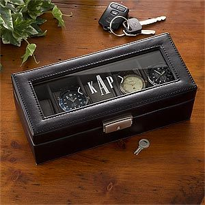 GREAT gift idea for the groom and/or the groomsmen! It's a Personalized Monogram Leather Watch Box ... the monogram and leather make it so handsome! It's on sale now for $52.45 at PersonalizationMall #Wedding #Groom #Groomsmen