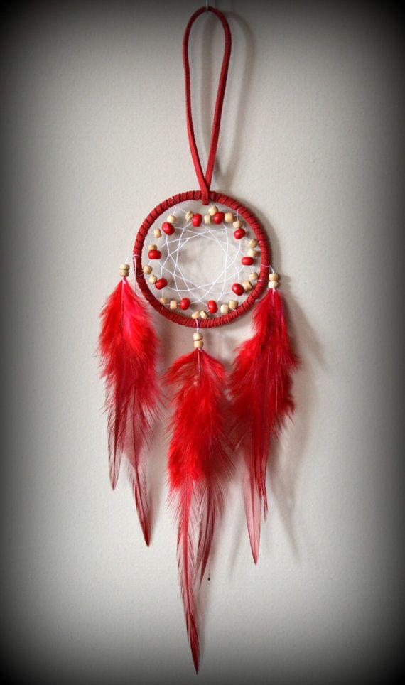 2'' Red Dream Catcher with glass beads. Car by DreamySummerNights