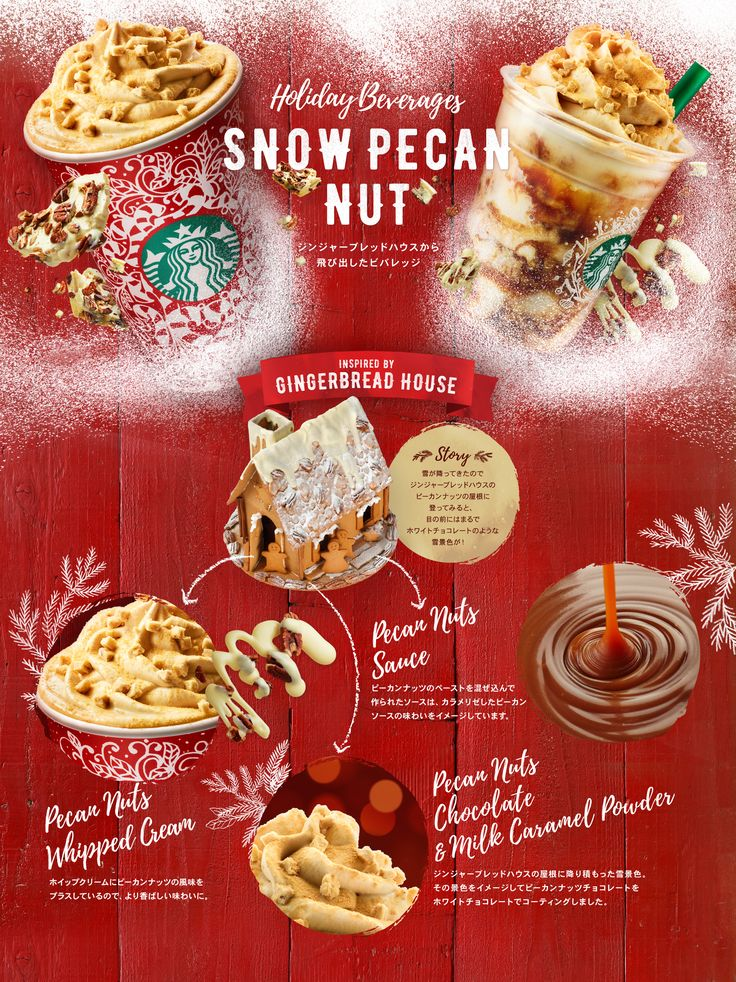 Holiday Bevarages SNOW PECAN NUT ジンジャーブレッドハウスから飛び出したビバレッジ SNOW PECAN NUT LATTE スノー ピーカン ナッツ ラテ / SNOW PECAN NUT FRAPPUCCINO® Blended Cream スノー ピーカン ナッツ フラペチーノ® INSPIRED BY GINGERBREAD HOUSE Pecan Nuts Whipped Cream / Pecan Nuts Chocolate