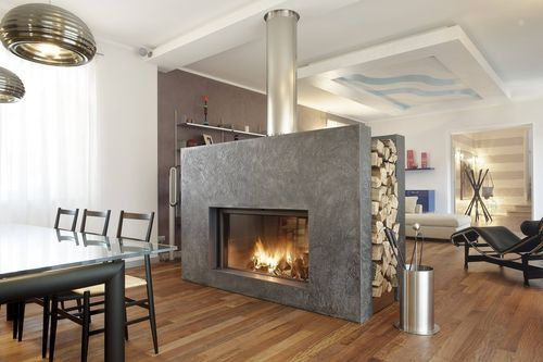 Contemporary double-sided fireplace (wood-burning closed hearth) -- inspiration