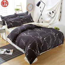 Classic bedding set 5 size grey blue flower bed linens 4pcs/set duvet cover set Pastoral bed sheet AB side duvet cover 2017 bed(China)