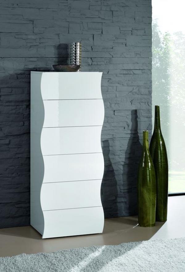 Onda, cassettiera moderna 6 cassetti in bianco lucido