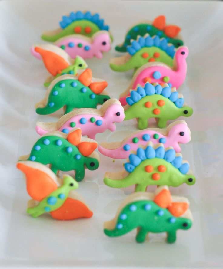 A Modern Dinosaur Birthday Party. These cute dinosaur cookies are perfect.