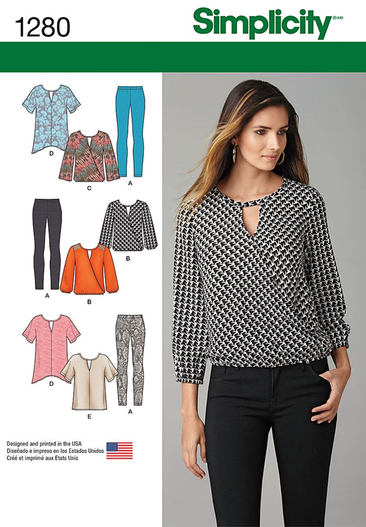 Simplicity sewing pattern 1280 includes loose fitting top with short sleeves, or faux wrap top with long sleeves and elastic waist. Leggings also included.