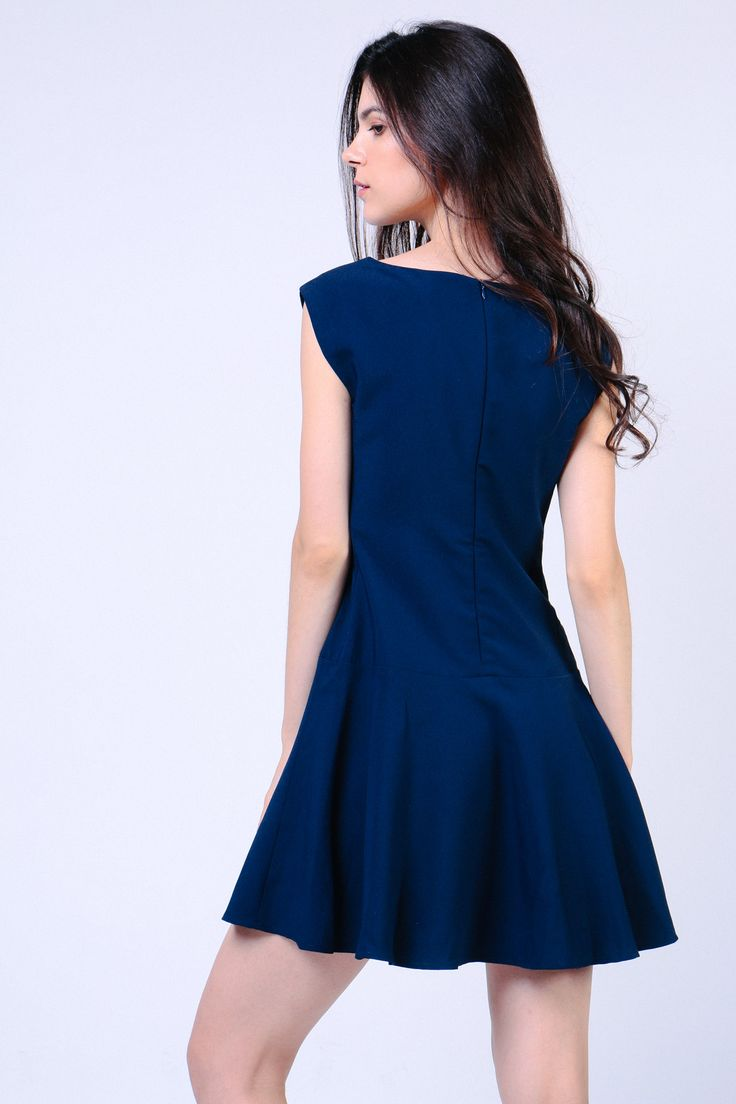Drop Waist Dress (Navy) Image 4