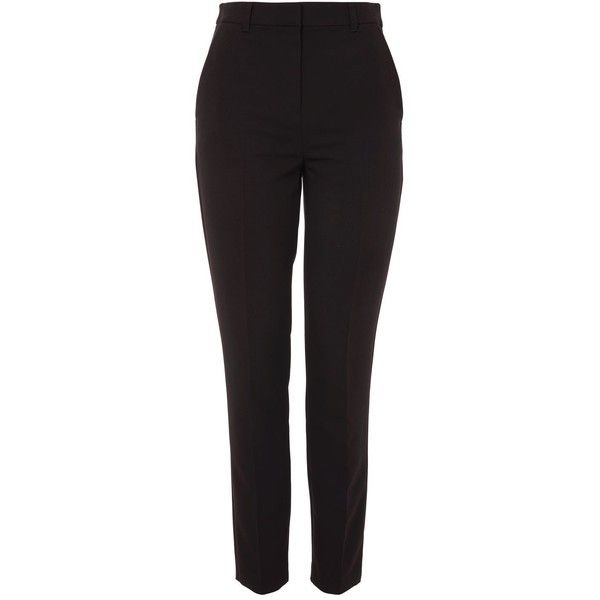 Topshop High Waisted Cigarette Trousers (£22) ❤ liked on Polyvore featuring pants, topshop, black, tailored pants, high-waisted pants, high waisted cigarette trousers, high waisted cigarette pants and high rise pants