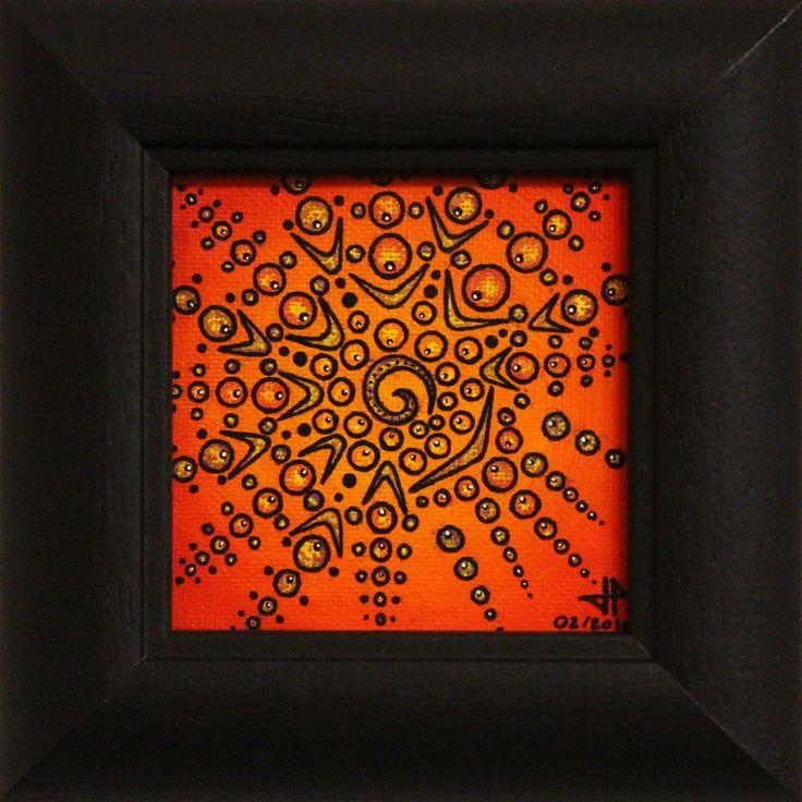 Titre : Magnétisme. œuvre réalisée à la peinture acrylique (Liquitex-Basic) et Posca (Uni / style de peinture acrylique) sur toile de coton (œuvre vernie [mat]). Format de l'œuvre (avec cadre) : 14 cm x 14 cm x 1.8 cm. Prix : 45 Euros. Pour voir la réalisation de cette œuvre en vidéo, rendez-vous sur : https://www.youtube.com/watch?v=nJi7ckNn2mk #Magnétisme #art #peinture #contemporaine #tableau #abstrait #toile #design #posca #acrylique