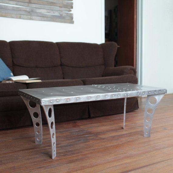 Brushed Aluminum Coffee Table: Brushed Finish JetSet Coffee Table Aluminum By RamonaMetal