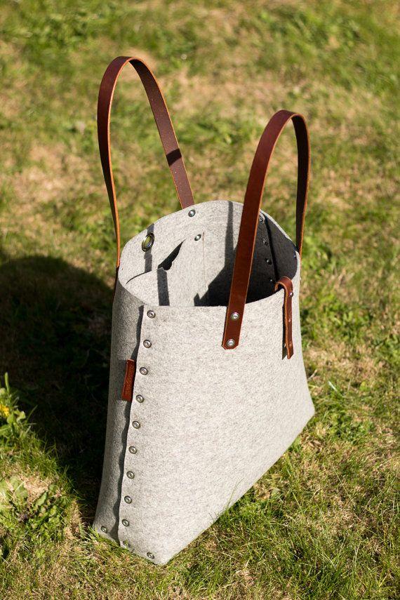 Bolso de mano bolso Shopper / luz bolso fieltro gris / por Rambag