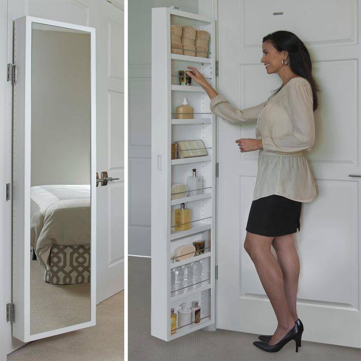 Spice cabinet idea. Amazon.com: Cabidor CAB00405 Classic Mirrored Behind Door Storage Cabinet, White, Deluxe: Home Improvement