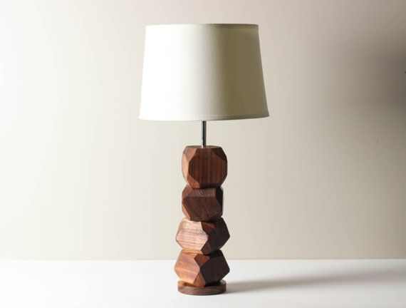 Gem Pedestal Lamp in Maple Table Lamp Wooden by WorleysLighting