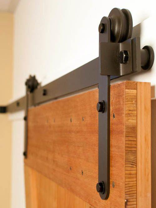 Механизм для передвижения barn door крепится к наружной пласти двери.