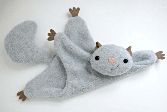 Flying Squirrel softie pattern with DIY tutorial and template. I love this pattern! I'm going to make one with squeakers for my dog & then another with an elastic loop for a pacifier for my friend's new baby.