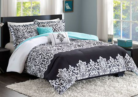 Black & Turquoise Teal Blue Comforter Set Elegant Scroll Teen Girl Bedding Twin XL Full/Queen