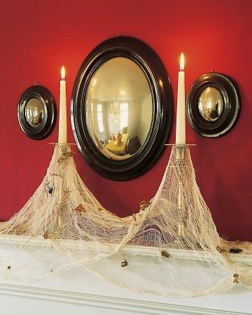 Cobweb CandlesHalloween Parties, Decor Ideas, Halloween Decor, Candles Holders, Cobweb Candles, Martha Stewart, Spooky Halloween, Halloween Ideas, Spiders Web
