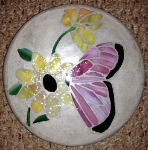 "Butterfly 8"" Round Stained Glass Garden Stone"