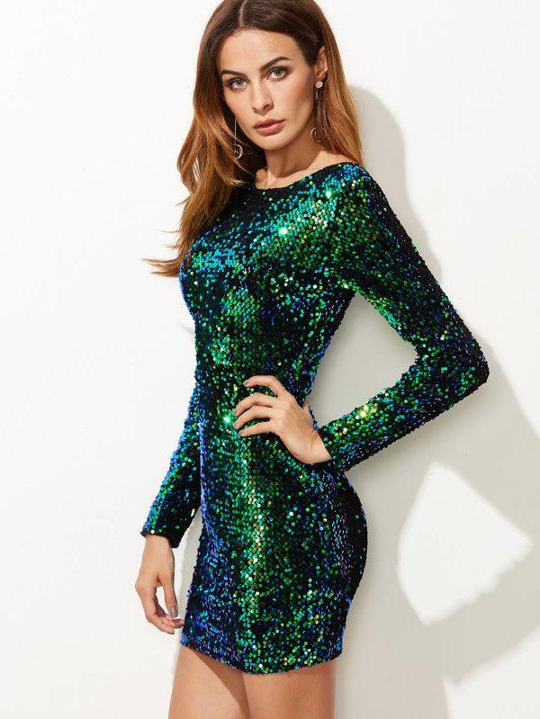 98d798205f Green Iridescent Long Sleeve Sequin Bodycon Dress -SheIn(Sheinside ...