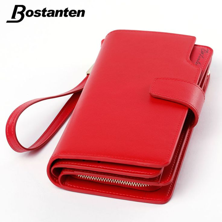 Bostanten Real Genuine Leather Women Wallets Brand Design High Quality 2017 Cell phone Card Holder Long Lady Wallet Purse Clutch