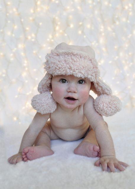 Baby Christmas Card - White blanket, white lights