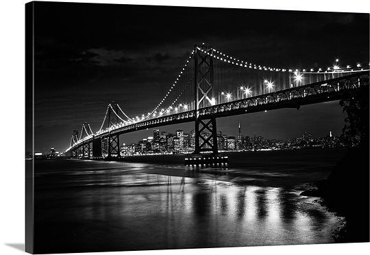 #blackandwhite The Oakland Bay Bridge after dark, San Francisco, California  #black