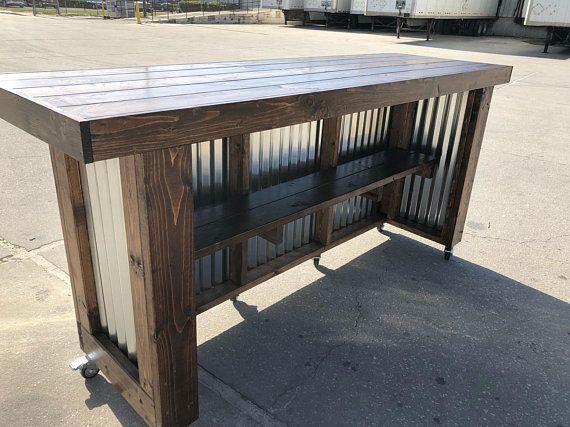 Plank Provincial 8 Rustic Style Corrugated Metal Wood Etsy Outdoor Patio Bar Patio Bar Backyard Bar