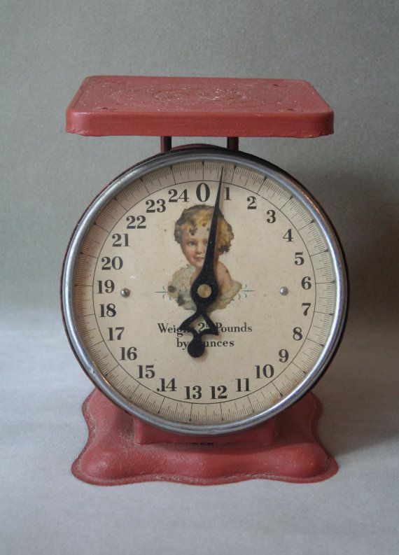 antique baby scale with wonderful graphics